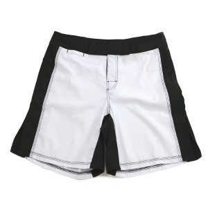 671W MMA Shorts, White/Black